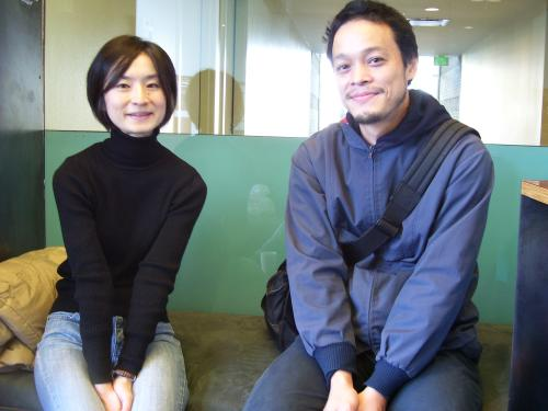 The artist and his wife, Yuka. This sweet-faced man wants you to consider that he might be a monster.