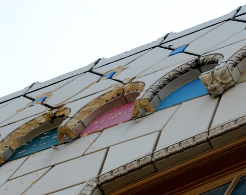 In 2006, a historic survey reported, The very striking terra-cotta cladding skin is surprisingly intact.