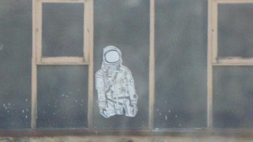 Spaceman across the street.