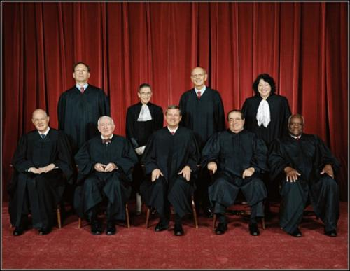 SCOTUS INC. Front row: Associate Justices Anthony M. Kennedy, John Paul Stevens, Chief Justice John G. Roberts, Antonin G. Scalia, and Clarence Thomas. Back row: Associate Justices Samuel A. Alito, Ruth Bader Ginsburg, Stephen G. Breyer, and Sonia Sotomayor.