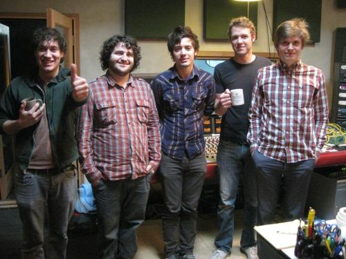 The Lonely Forest in the studio with Chris Walla (right)