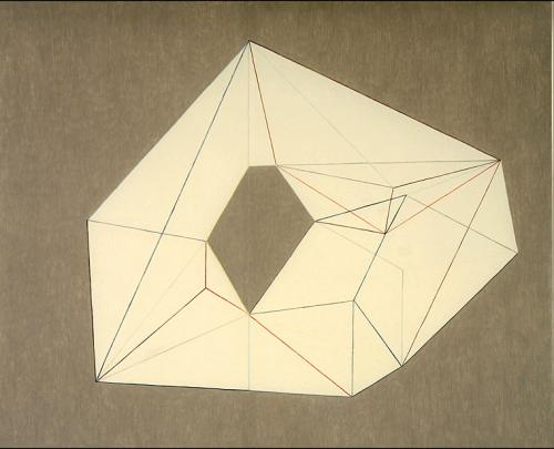 Heptagon Is Rising (10.21.1967) (2009), colored pencil and gouache on vellum paper, 34 by 42 inches
