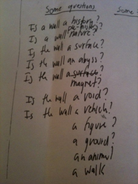 Some questions, from the artists notebook.