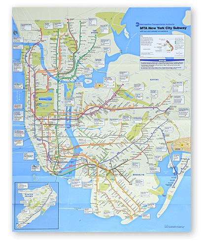 The new 2010 MTA subway map.