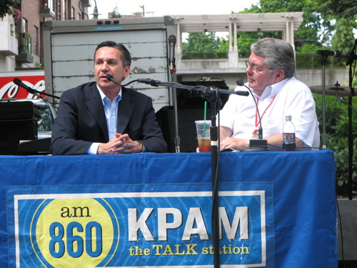 Dino Rossi in Vancouver, WA, on June 11. Hell answer questions for conservative talk radio, but he wont answer certain questions about abortion.