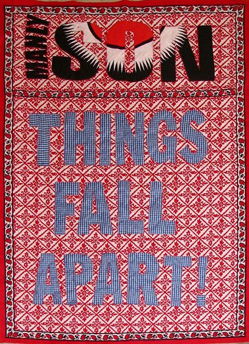 Lawrence Lemaoana, Things Fall Apart, textile (2009)