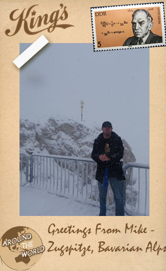 A photo of a guy named Mike wearing a King's Hardware t-shirt in the Alps. An Alp sounds nice right about now.