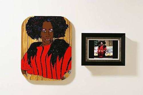 Aint I A Woman (2009), by Mickalene Thomas; DVD, rhinestone, acrylic and enamel on panel