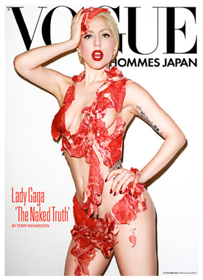 Lady gaga covered in meat