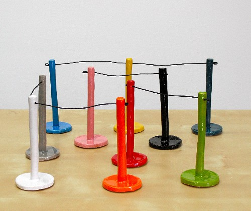 Nicholas Nylands little stanchions sculpture: The perfect gift. It says, There is an in and there is an out!
