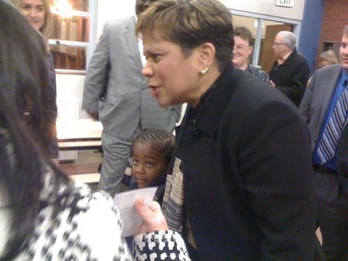 Maria Goodloe-Johnson at a community meeting last year