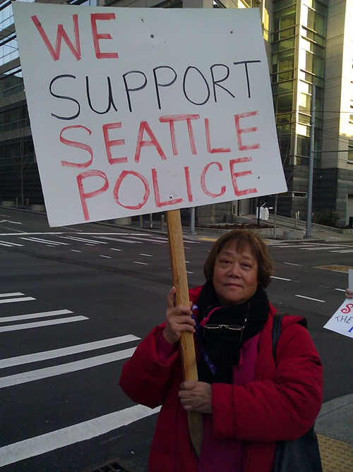 The police are here to serve and protect, and we should respect them. In China, youd never be allowed to criticize officers. Here, we take them for granted. We dont thank them enough. -Eva Chapman, a mukilteo resident