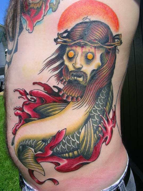 Another kind of Jesus fish tattoo