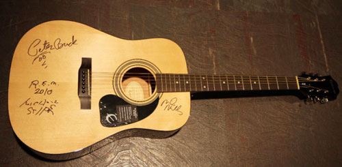 Signed by Peter Buck, Michael Stipe and Mike Mills while recording new release Collapse Into Now at Blackbird Studio in Nashville.