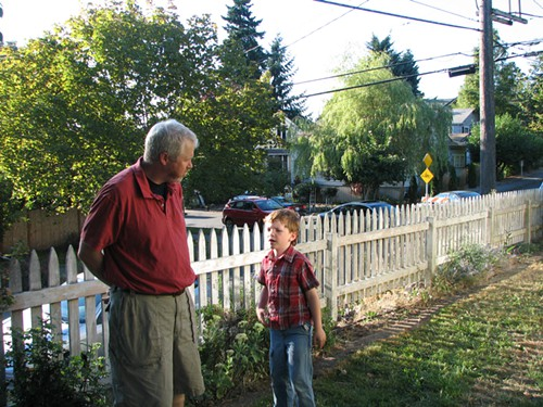 Mayor McGinn, taking questions from a constituent yesterday evening.