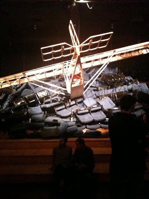 The plane crashing into theater seats.