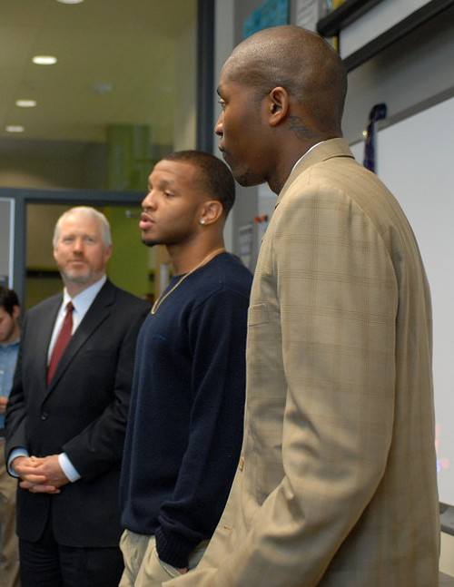 Atlanta Hawks point guard and former Rainier Beach High star Jamal Crawford, former Garfield High and UW star Will Conroy, and Seattle Mayor Mike McGinn (the short guy on the left) introduce the Be Here, Get There campaign.