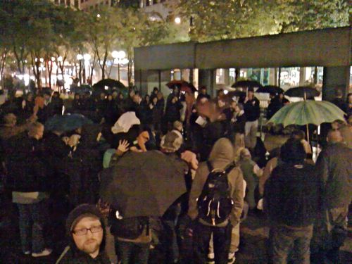 One hundred protesters picked to live in a park and stand in the rain for three hours without making a decision.
