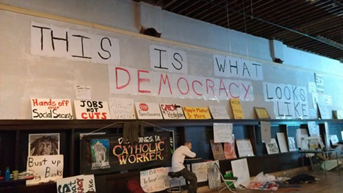 One wall at Occupy the Caucuses HQ.