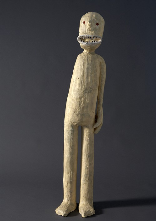 Gawker, made of clay, paint, graphite, and glass eyes, and standing 40 inches tall.