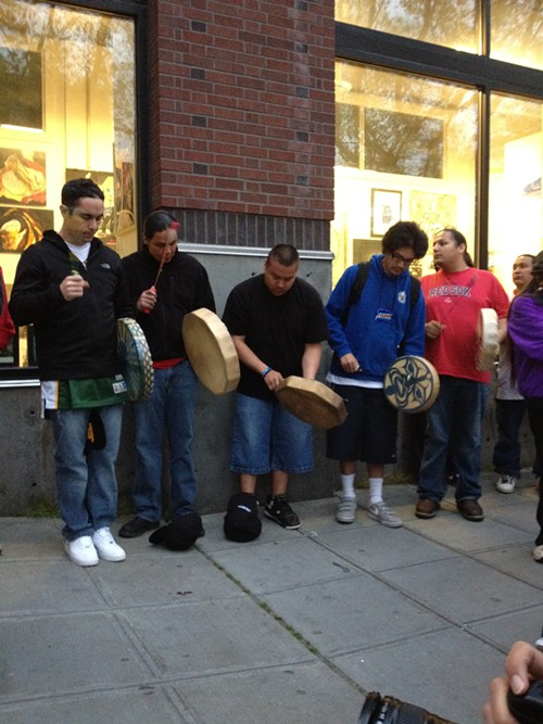 The Chief Seattle Club drum group performing for Nicole Westbrooks memorial, which united Native Americans from many nations.