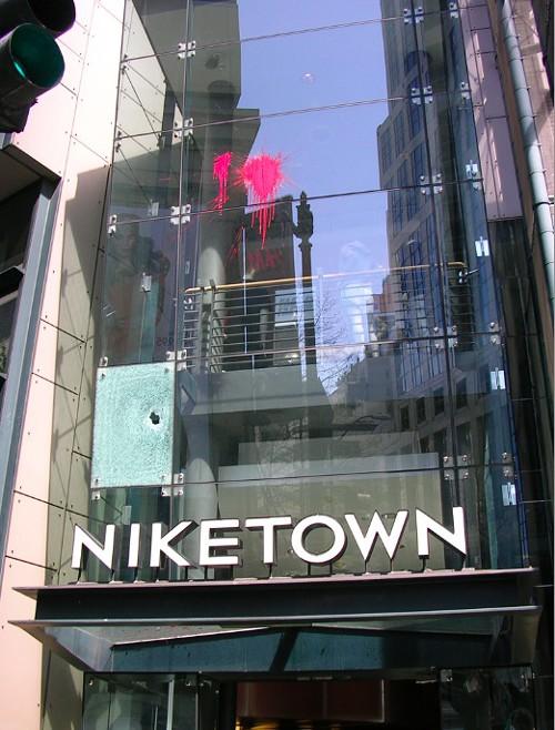Paint splatters at NikeTown.