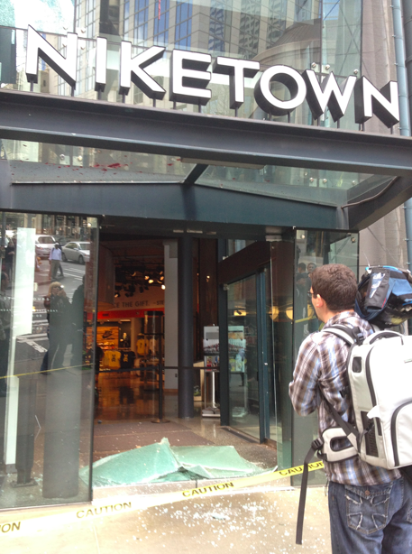 Broken windows at NikeTown.
