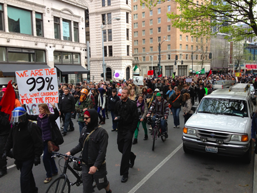 The march down Fourth Avenue begins.