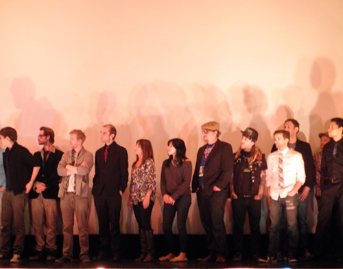 Small portion of the large cast and crew
