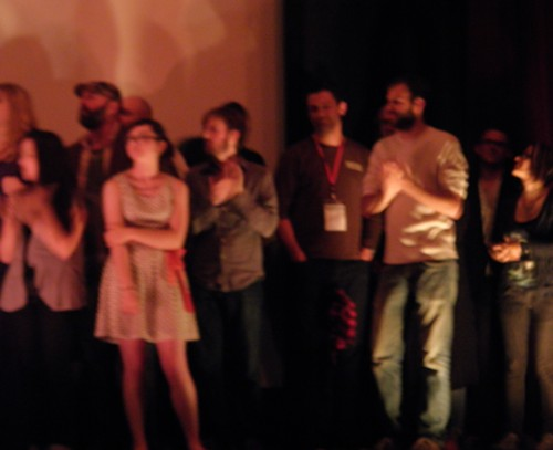 Cast members, including Billy Campbell (in black).