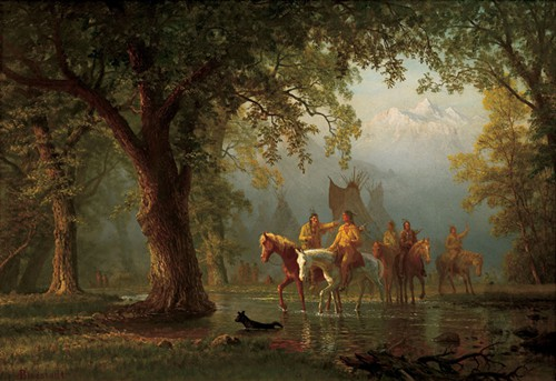 Albert Bierstadt, Departure of an Indian War Party. Oil on board, 17 1/4 x 24 1/4 inches.
