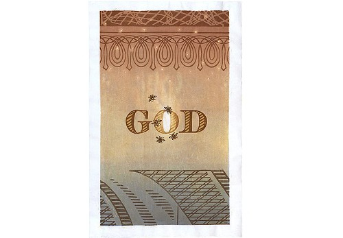 Annie Bissett, GOD, Japanese woodblock print, 38 1/2 by 25 inches
