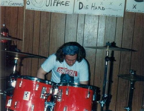 False Hopes Dave Araca setting up drums.