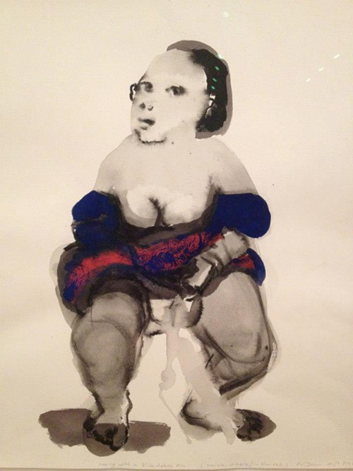 Marlene Dumass watercolor portrait of a girl pissing.