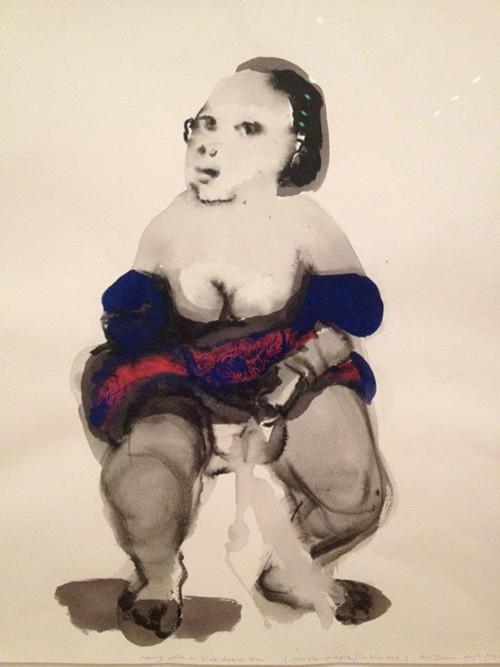 Marlene Dumass watercolor portrait of a girl pissing.