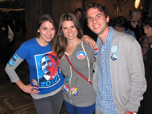 Rebekah, Miranda, and Elliot Helmbrecht, campaign manager for Marcie Maxwell.
