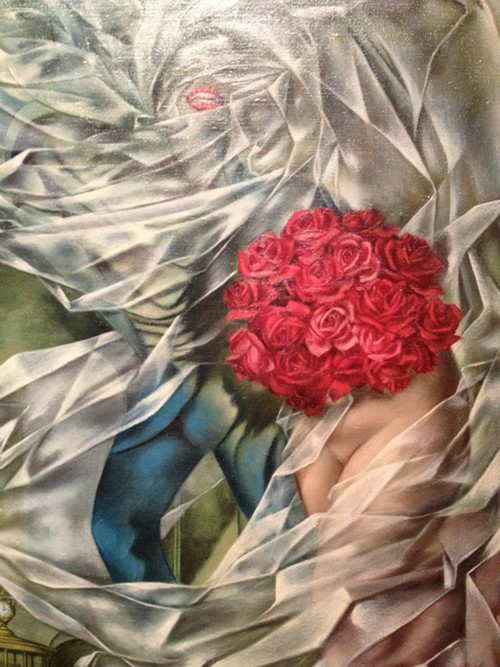 Detail from a Dorothea Tanning painting: Yup, women surrealists are astounding.