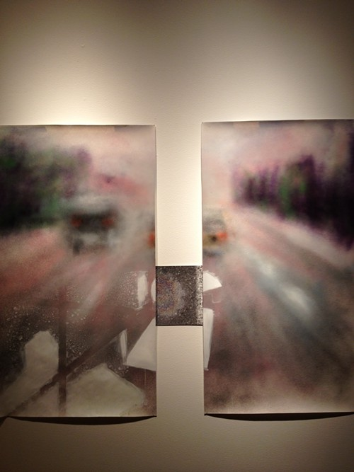 Lighter than some weight by Shaw Osha, 2012, spraypaint on paper and photograph, at the Hedreen Gallery.
