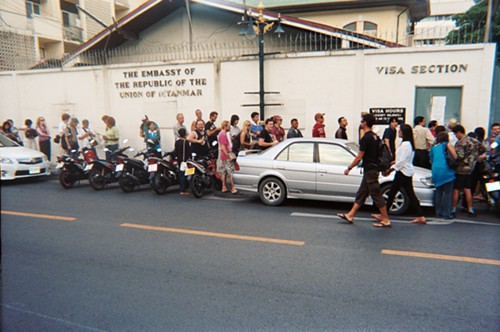 The long line for visas at the Myanmar embassy in Bangkok.