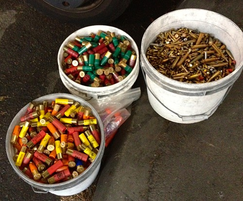 A small selection of the buckets full of unwanted ammo collected at todays gun buyback event.