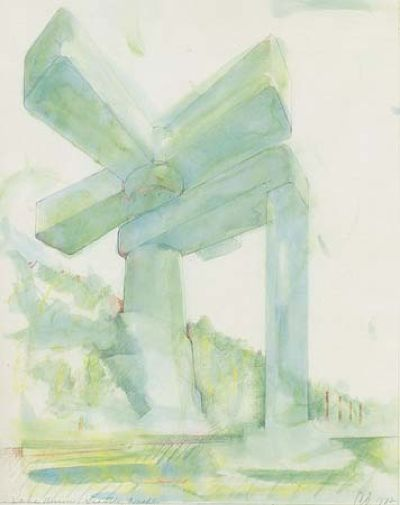 Claes Oldenburgs 1972 drawing of a faucet over Lake Union.