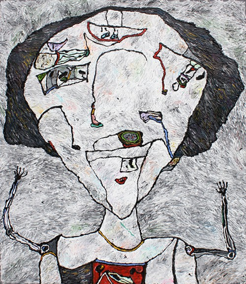 Cousin Claudia, 1992, acrylic on canvas, 80 by 70 inches