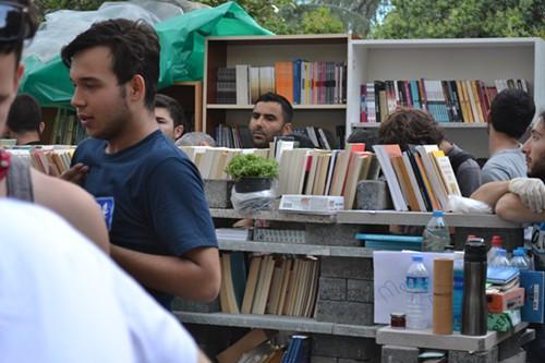 Makeshift library, Taksim Gezi Park.