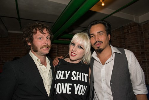 2012 Genius Award finalist Amanda Manitach in the basement bar with about-to-be-crowned 2013 winner Rodrigo Valenzuela.