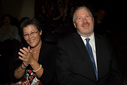 Mayor Mike McGinn, sitting with his wife, got applause for his record-setting investments in the arts.