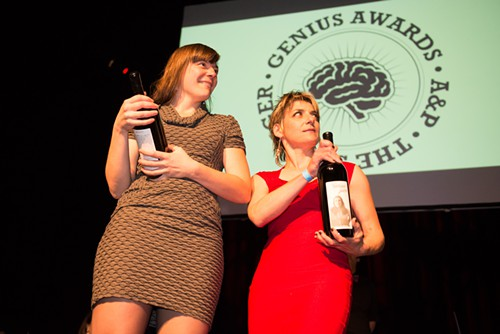 2012 Geniuses Sarah Bergmann and Ellen Forney got magnums of Genius Juice with their faces on them.