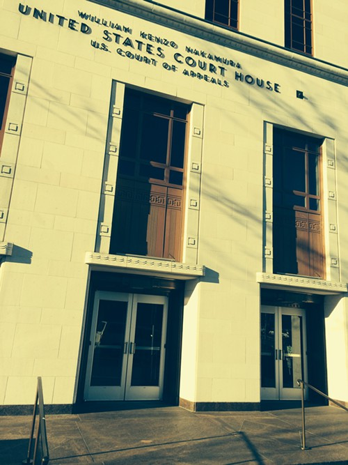 The doors of the Ninth Circuit courthouse on Feb 5, 2014.