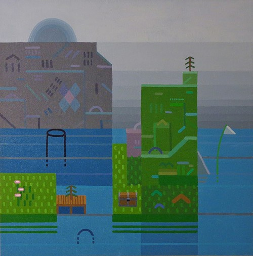 Dock, 2013, acrylic on canvas, 18 by 18 inches.
