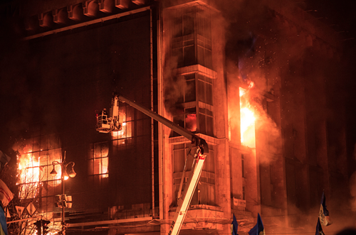 Chris writes: Fire engulfed the Trade Union building in Kyiv, which had been used as a base for demonstrators. Protesters say the fire was a provocation by the regime.