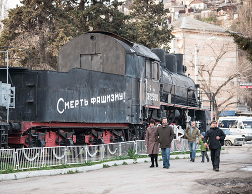 A train car reads death to fascism in Sevastopol.